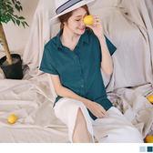 《AB4074-》質感純色襯衫領排釦反摺連袖造型上衣.2色 OB嚴選