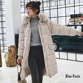 【藍色巴黎 】 秋冬保暖加厚連帽毛領拉鍊中長版羽絨棉長袖外套 風衣 大衣 《2色》【28613】