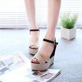 【618好康又一發】2018夏季新款女涼鞋高跟坡跟拼色鬆糕厚底鞋