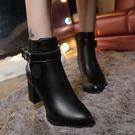 女短靴新款高跟女士馬丁靴百搭英倫風女單鞋粗跟女鞋潮『韓女王』