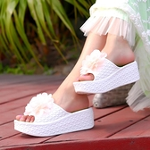 鬆糕鞋 韓版新款花朵厚底拖鞋室內外高跟厚底涼拖女士防滑6厘米高跟拖