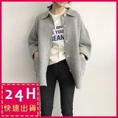 梨卡★現貨 -  秋冬氣質甜美純色寬鬆單排釦加厚保暖毛衣風衣針織外套BR114