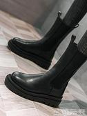 同款單靴子中筒厚底切爾西靴女英倫風帥氣黑色煙筒短靴馬丁靴