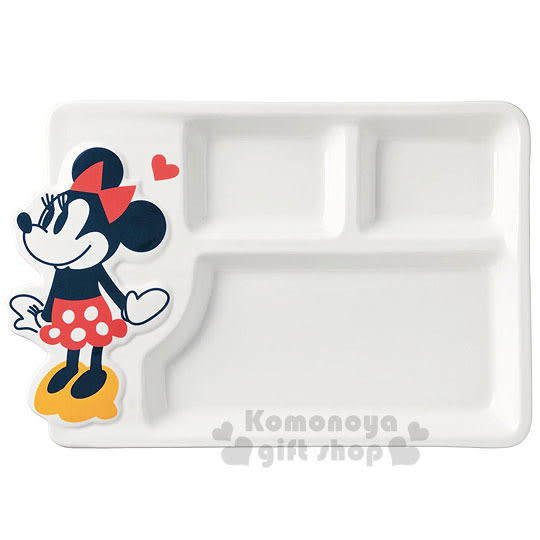 〔小禮堂〕迪士尼 米妮 造型陶瓷餐盤《白.站姿.愛心.三格》 4942423-23359