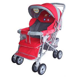 (K1448) Mother's Love 全罩式加大雙向推車(藍/紅)+ 益智套杯組