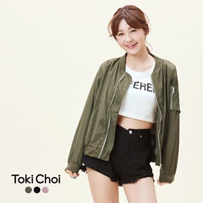 東京著衣-袖子拉鍊裝飾飛行外套-XS.S.M(6016551)