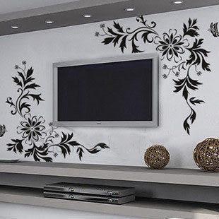 壁貼 電視背景牆 貼M172對角花藤