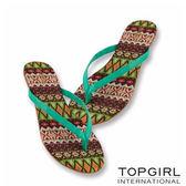 TOP GIRL清涼夾腳拖鞋 --藍綠花