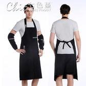 圍裙 韓版時尚圍裙廚房做飯罩衣服務員咖啡店訂製LOGO防水工作服女「Chic七色堇」