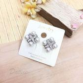 韓國進口 名媛 鑲鑽十字框 珍珠點綴 夾式耳環