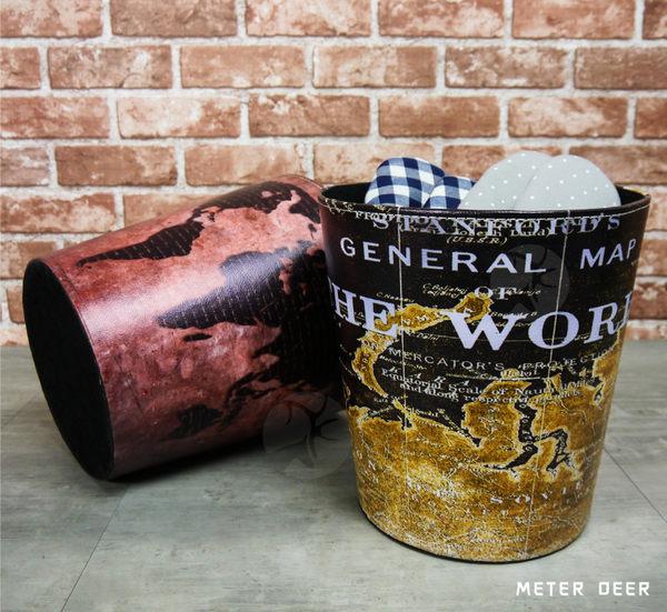 工業風垃圾桶收納桶皮革製廢紙簍 復古世界地圖造型置物桶 防潑水擺飾雜貨收納置物籃-米鹿家居