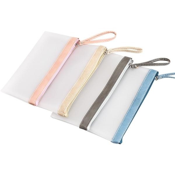 簡約果凍膠拼色筆袋(1入) 顏色隨機出貨【小三美日】