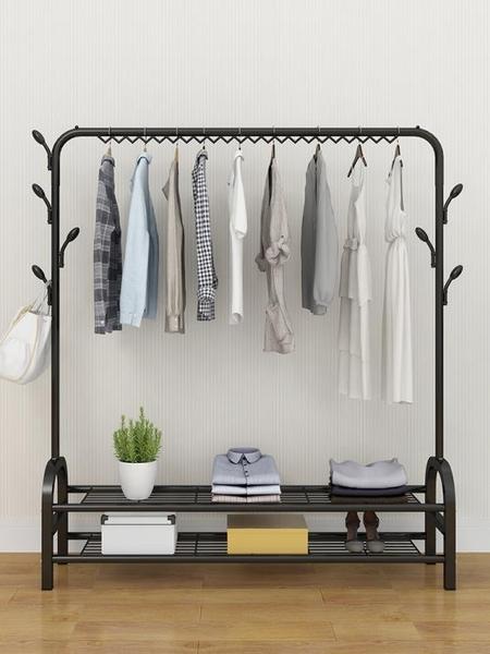 晾衣架 室內簡易晾衣架落地折疊單桿式移動衣帽架臥室掛衣服架子曬晾衣桿 LX 晶彩