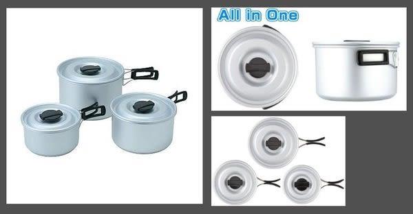 丹大戶外【LOGOS】日本ST三件式鍋具組(大中小)/鍋子組/輕量好攜帶81210200