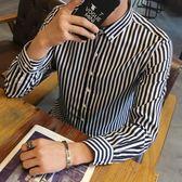 秋季男士長袖條紋襯衫修身寸衣青少年發型師韓版休閒襯衣學生潮男     韓小姐