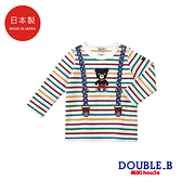 DOUBLE_B 日本製 假吊帶條紋黑熊長袖T恤(多色)