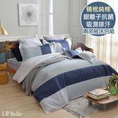 義大利La Belle《時尚空間》特大純棉防蹣抗菌吸濕排汗兩用被床包組