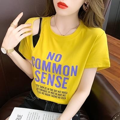 涼感上衣短T~假兩件漂亮t恤短袖女裝裝潮薄款上衣NE212B日韓屋