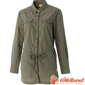 Wildland 荒野 女抗UV時尚長版襯衫 彈性纖維/顯瘦修身剪裁/防曬小罩衫/薄長袖 0A51211-42可可綠