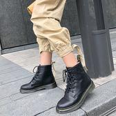 真皮大尺碼女鞋 2019新款裡外全皮 6 孔繫帶馬丁靴 時尚顯瘦百搭中跟短靴~2色