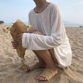 梨卡 - 沙灘海邊寬鬆舒適恤罩衫長袖防曬微透上衣/3色BR243