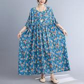連身裙 大碼洋裝文藝小花大碼胖MM130-230斤寬松印花短袖連身裙MC062 胖妞身櫥