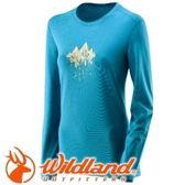 【Wildland 荒野 女 遠紅外線印花保暖衣 湖水藍】 22655/遠紅外線/保暖衣★滿額送