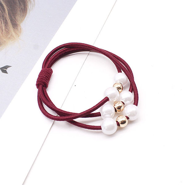 珠珠髮飾 韓版 髮束 彈性髮圈 高彈力 橡皮筋 飾品 批發 手繩 髮帶 珍珠多層髮圈(1入)【F061】MY COLOR