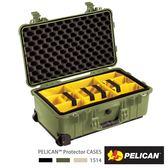 美國 PELICAN 1514 輪座拉桿氣密箱 - 含隔層(綠)│1510氣密箱 (公司貨)