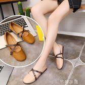 韓版單鞋女夏季新款復古森女圓頭娃娃鞋軟底百搭平底奶奶鞋潮      芊惠衣屋
