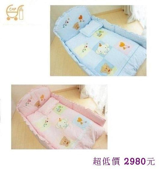 *美馨兒* 東京西川 GMP Baby-[九格象]抗蹣菌七件組/嬰兒床組(二色可挑) 2980元