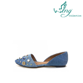 [Wengcollection]Orbit Stone 丹寧圓頭平底鞋 淺藍