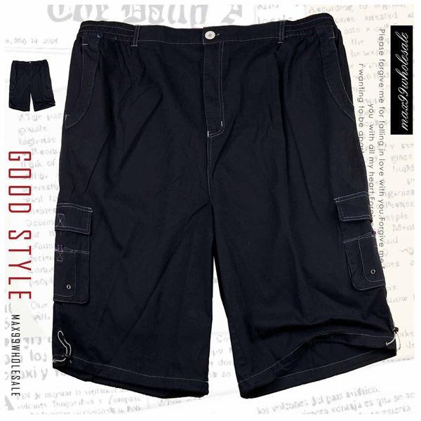 【大盤大】大尺碼 黑 男 夏 休閒褲 七分褲 寬鬆 多口袋 男友褲 顯瘦款 拉鍊短褲 涼 情人節禮物