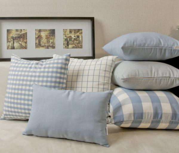 小清新簡約時尚色織棉雙面布藝 格子抱枕 腰枕 靠背枕  (50*50cm)