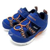 《7+1童鞋》小童 日本 MOONSTAR 月星 透氣 魔鬼氈 機能涼鞋 D452 藍色
