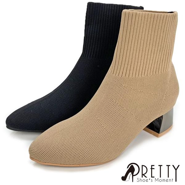 BA-28806 女款粗跟襪套短靴 歐美風仿金屬粗跟尖頭彈力襪套短靴【PRETTY】