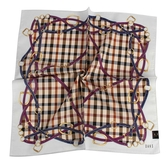 DAKS 格紋皮革鍊條純綿帕領巾(米白色)989108-150