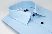 【金‧安德森】藍色階梯暗紋窄版長袖襯衫