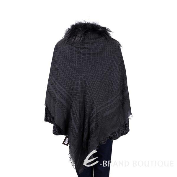 GUCCI 黑色鑽石織紋狐狸皮草飾邊披肩 1540927-01
