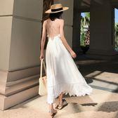 萬聖節狂歡   巴厘島沙灘裙女夏新款顯瘦海邊度假白色仙女裙泰國普吉島裙子【居享優品】