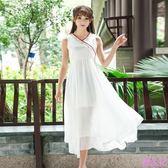 實拍漢服斜襟文藝復古中國風女無袖長裙繡花大擺裙子