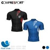 【Compressport 瑞士】PT3 男款越野跑衣 Postural 3 黑色/寶石藍 CS1-1235-1 原價4200元