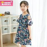 2020新品夏季童裝卡其可可純棉印花韓版露肩女童洋裝兒童公主裙 幸福第一站