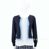 Andre Maurice 喀什米爾漸層深藍不修邊開襟羊毛衫 1840015-34