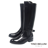 Tino Bellini歐洲進口金屬釦拼接彈力帶平底長靴_ 黑 A69029 歐洲進口款
