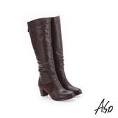 A.S.O 簡約風格 抓皺皮革長靴 咖啡色