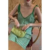 款沙灘海邊牛油果綠連衣裙仙女超仙森系吊帶裙小清新針織裙 快速出貨