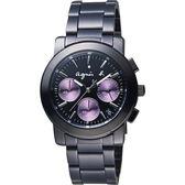 agnes b. 魔幻魅紫三眼計時腕錶-IP黑x紫圈/38mm VD53-KP30P(BT3032X1)