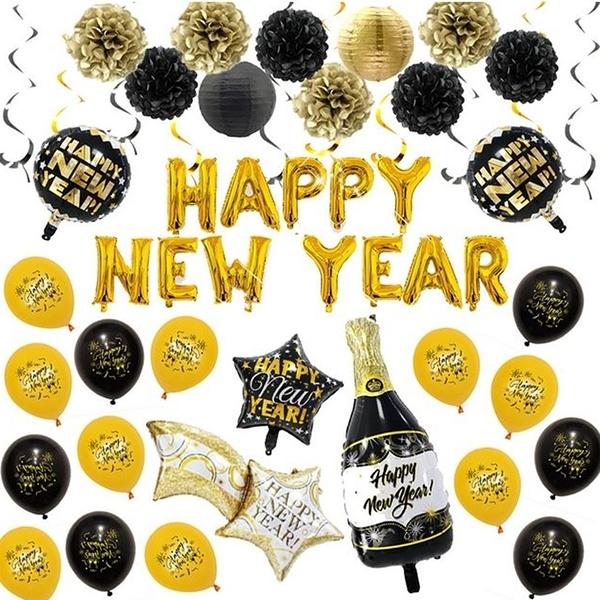 [拉拉百貨]新年 HAPPY NEW YEAR 套裝 DIY 造型氣球 派對 慶祝 節慶 浪漫 驚喜