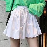 EASON SHOP(GU8183)實拍純色鬆緊腰收腰抽繩綁帶不收邊短褲裙女高腰顯瘦休閒A字裙顯腿長修身寬褲白色